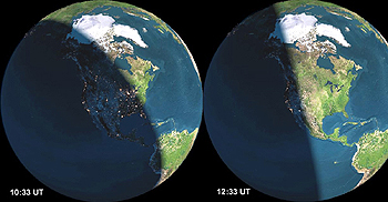 Earth at begin and end of shower
